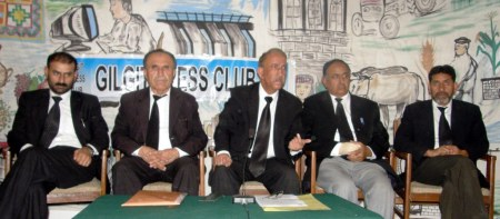 The senior lawyers are addressing a press conference in Gilgit. Photo: Mon Digital