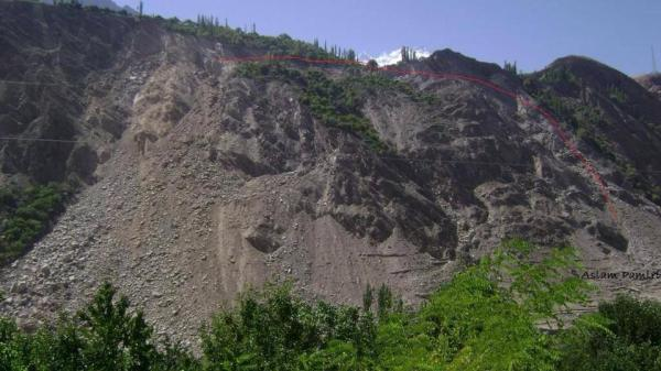 The red line denotes the unstable slope in Phakar village of Nagar Valley. Photo: Aslam Pamiri