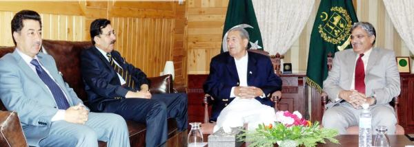 Barjees Tahir called on the Governor of GB at his office in Gilgit