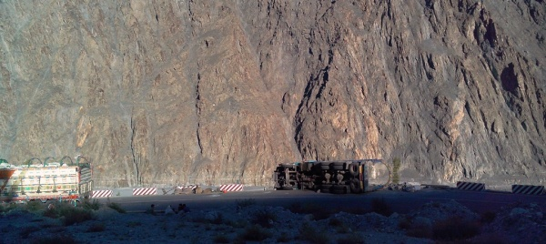 Another view of the trucks that turned over near Hussani village of Gojal