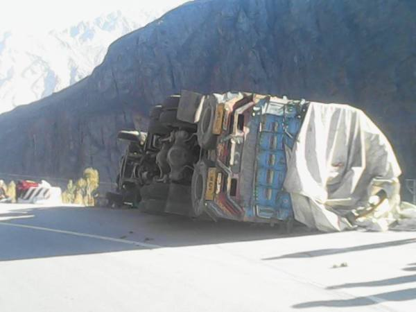 The turned over truck. Photo: Naveed