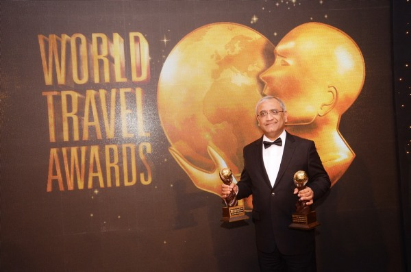 Mr Aziz Boolani, CEO Serena Hotels, after receiving the World Travel Award