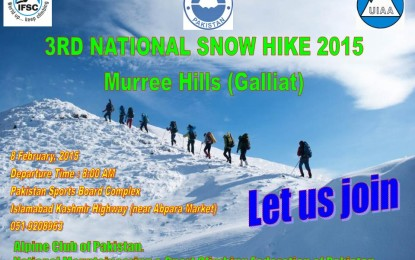 Alpine Club Pakistan to organize 3rd National Snow Hike on 8th February