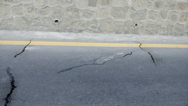 Cracks, with water seeping out