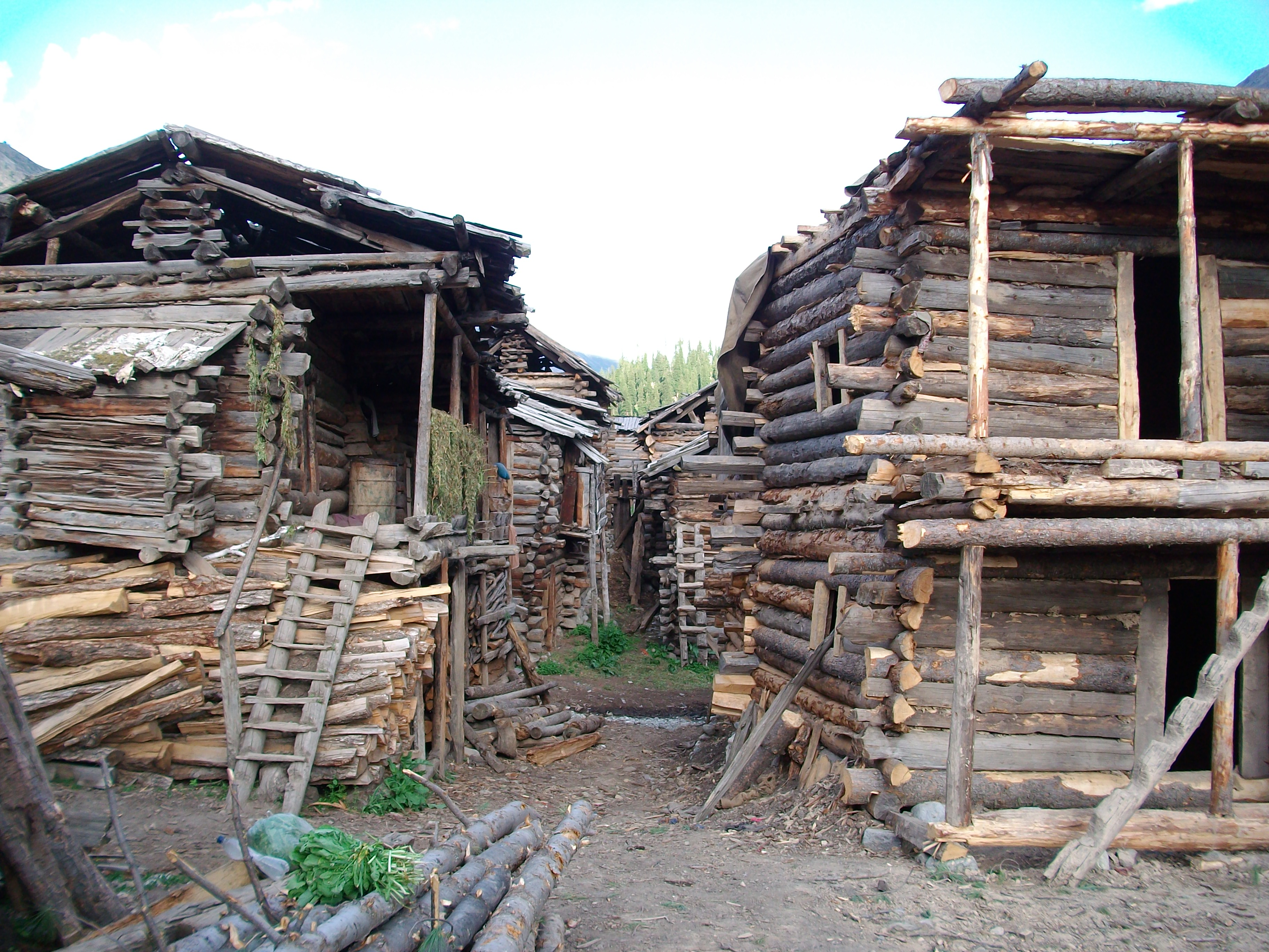 Wooden houses used by the seasonal settlers