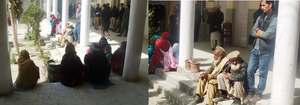 Patients and attendants sitting on the stairs due to absence of adequate facilities at the hospital