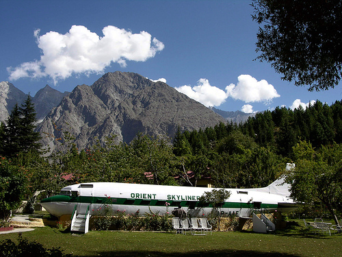 An abandoned airoplane of PIA now serving as a restaurant