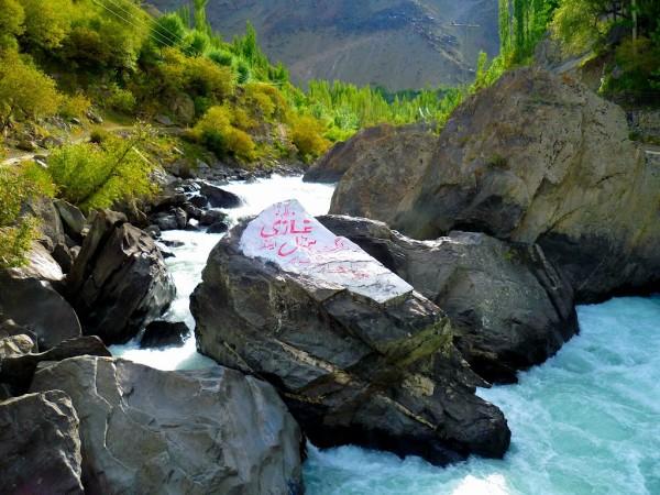 A beautiful stream gushing down the mountain