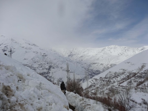 The snow covered valley