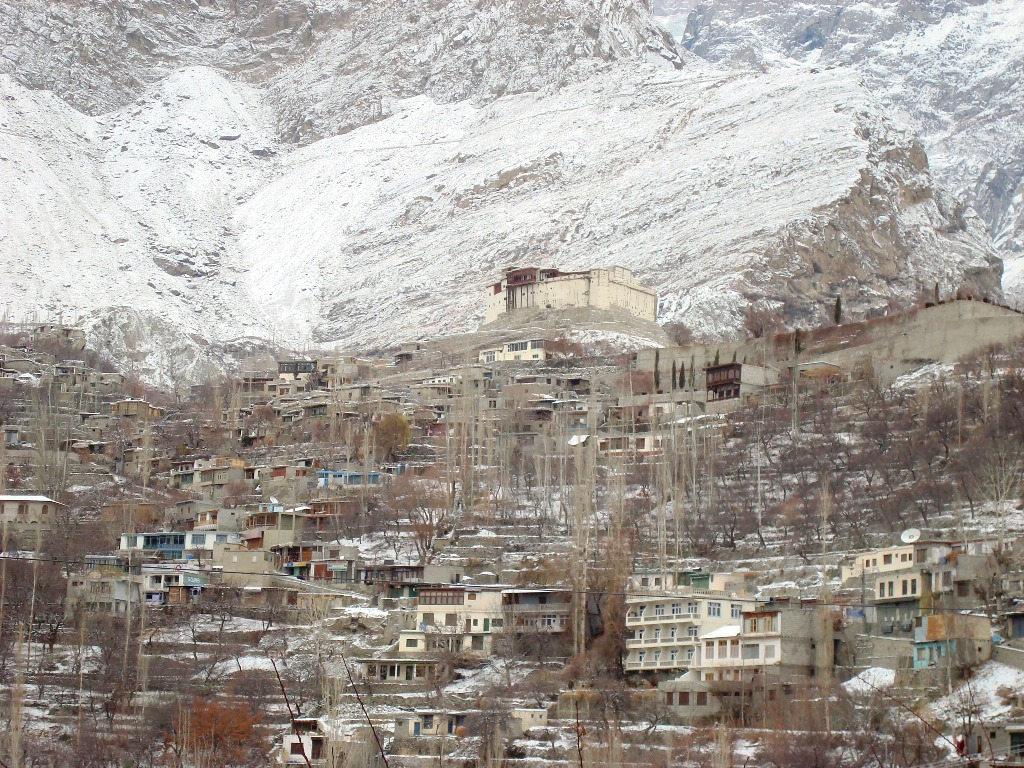 Standing atop the Hunza valley covered in snow during the harsh winters