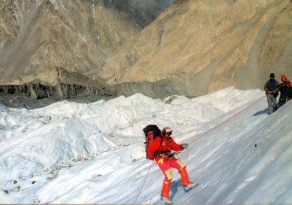 Rajab Shah practicing ice climbing