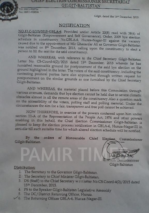 Polling in Hunza postponed