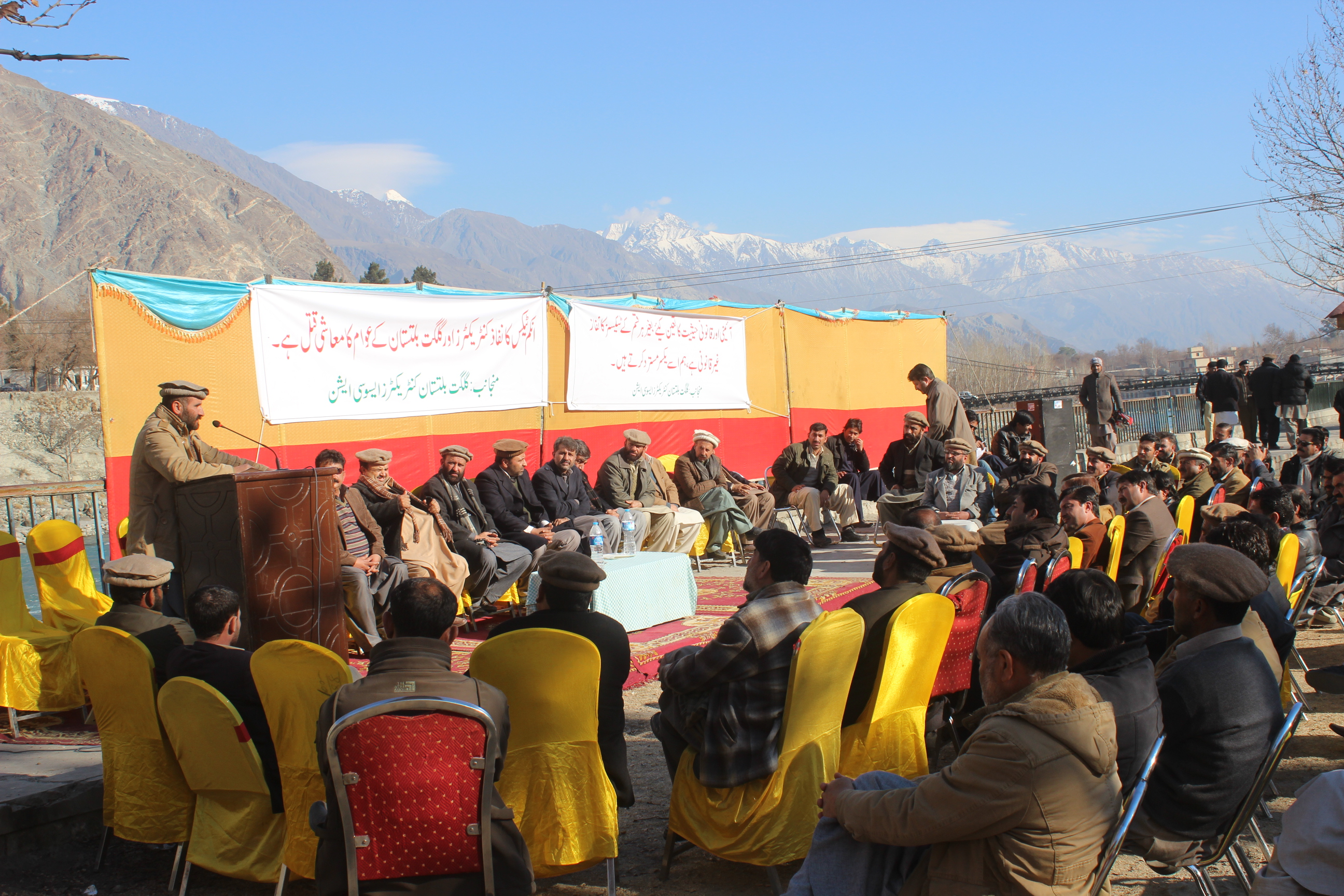 [Video] Contractors stage protest against imposition of tax in Gilgit-Baltistan