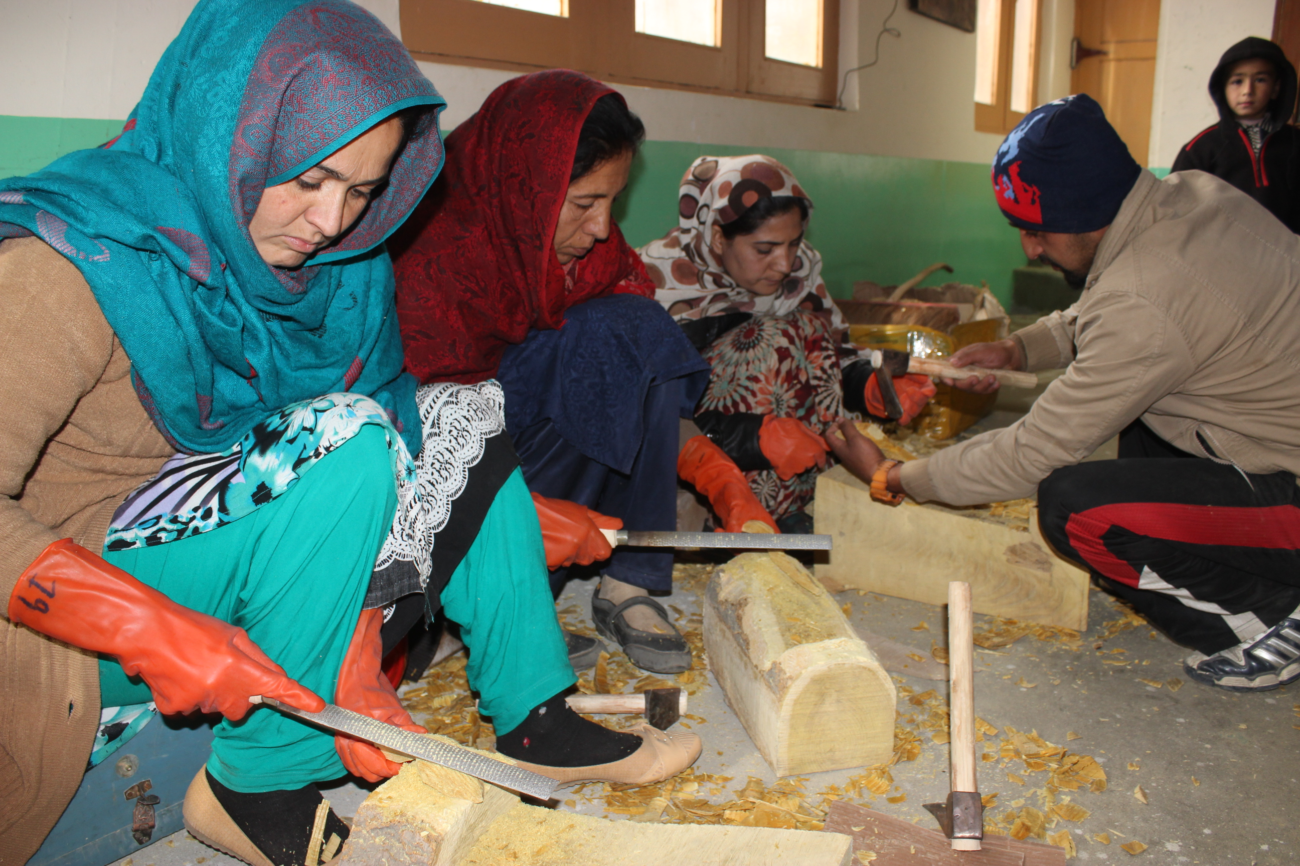 Hunza women pursuing skills in wood carving