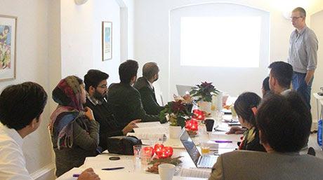 Professor Robert Klennensen delivering lecture on Constitutional Evolution of Denmark