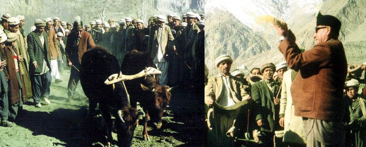 Historical photograph of the last Mir of Hunza, Mir Muhammad Jamal Khan, celebrating the Bofao festival in the late 60s.
