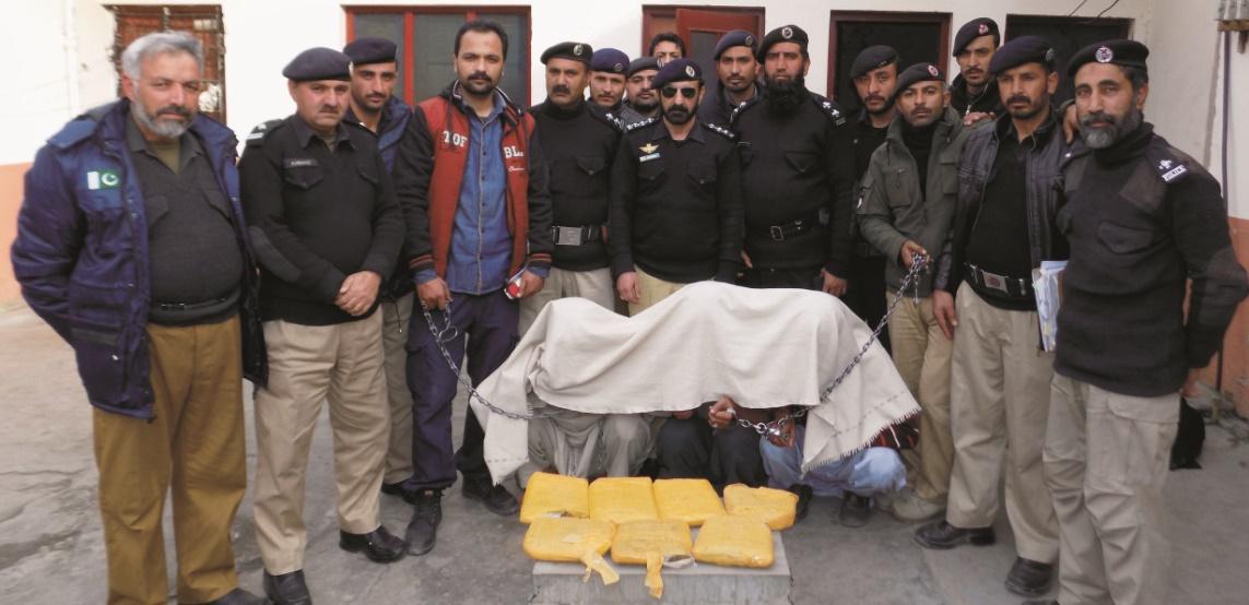 Gilgit Police arrests 3 drug peddlers, 6,974 grams of Chars recovered