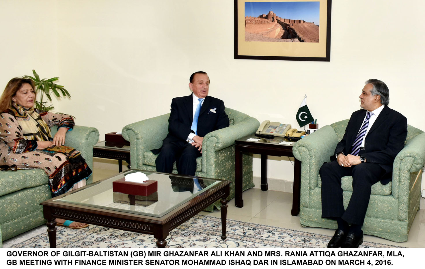 Governor Mir Ghazanfar calls on Federal Finance Minister to discuss GB's economic issues