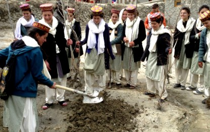 Tree plantation day held at Al-Amyn Model School, Gulmit