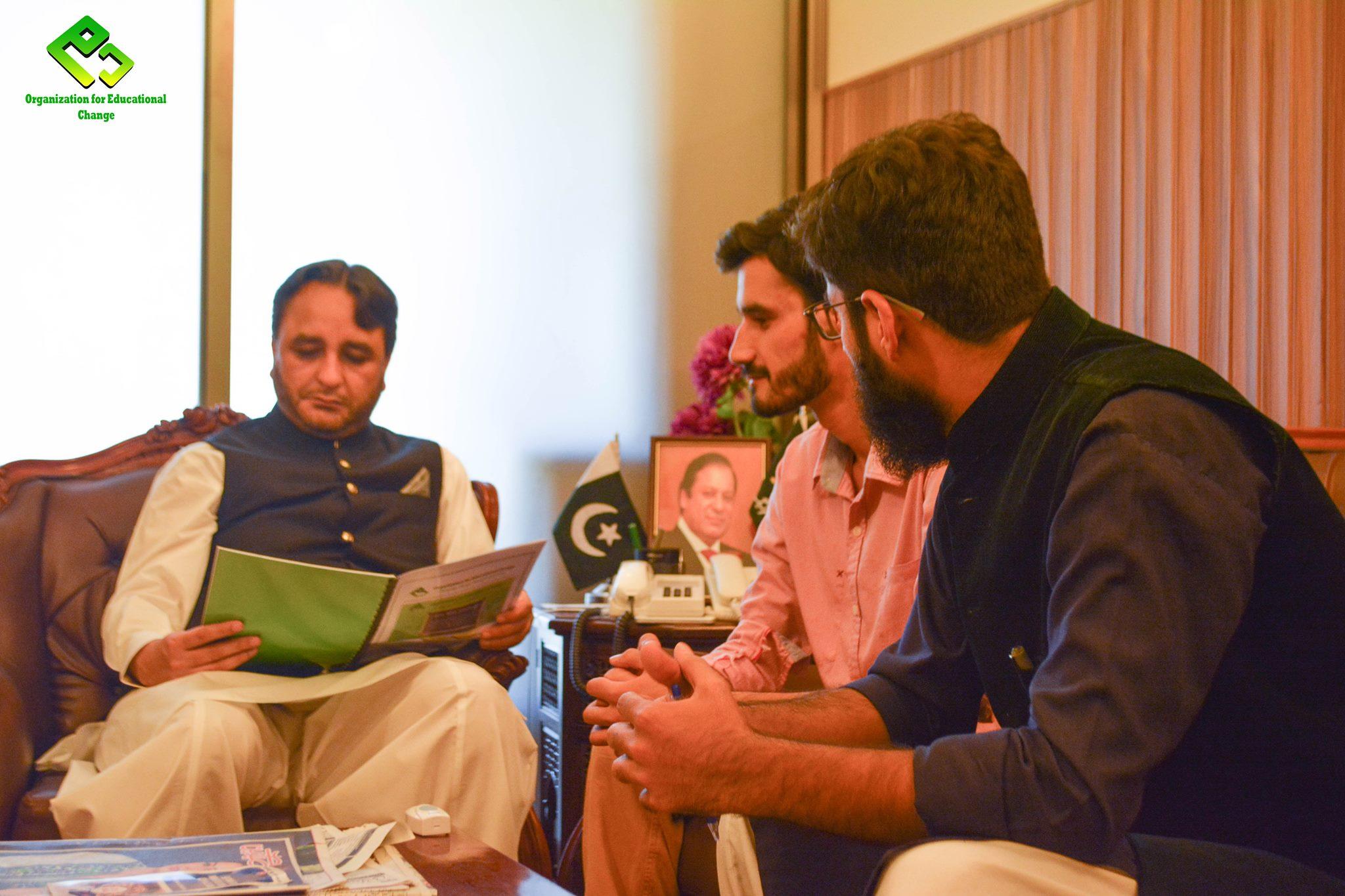 Team OEC calls on Chief Minister Hafeezur Rehman and Deputy Speaker Jafarullah in Islamabad