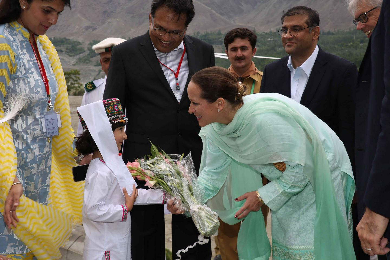 Princess Zahra Aga Khan receiving a bouquet at the inauguration of the Aga Khan Medical Centre Gilgit