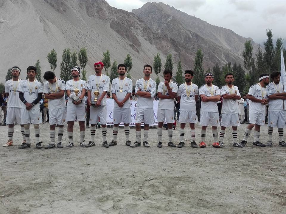 Winning team during the award ceremony
