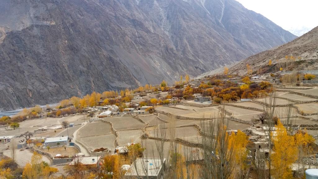Terraced empty fields in Hussani village