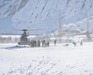 Army helicopter delivers relief items to avalanche hit families in Arandu Shigar