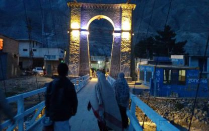 Historical Konadas Bridge in Gilgit city undergoing restoration