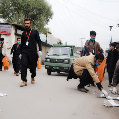 KIU volunteers hold cleanliness drive along the Chehlum procession route in Gilgit