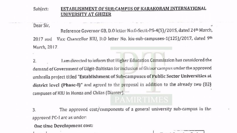 HEC approves KIU sub campus in Ghizer