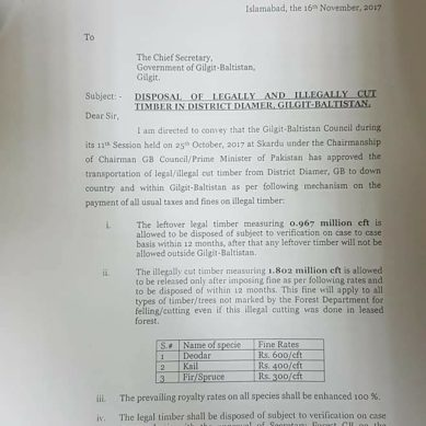 Amnesty scheme notified for transportation of cut timber from Diamer district