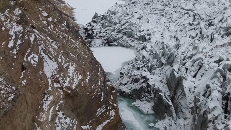 Swelling of lake formed due to glacier surge worries residents of Shismhal valley, Hunza