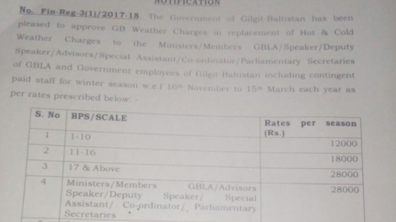 """""""Weather Charges"""" policy for Gilgit-Baltistan govt officials and legislators announced"""