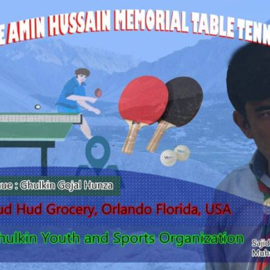 Ghulkin Youth and Sports Organization to hold first ever All Hunza Table Tennis Tournament