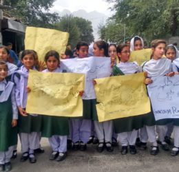 Students in Gilgit protest against attacks on schools