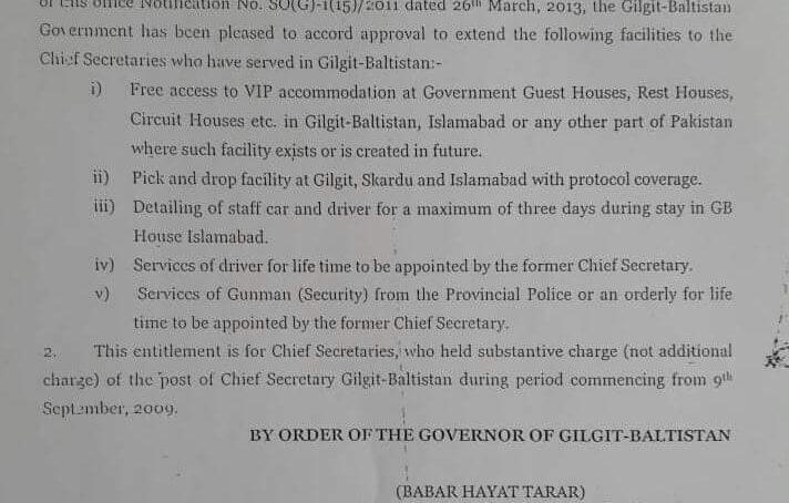Former Chief Secretaries to get free VIP residence, protocol, driver, gunman, in Gilgit-Baltistan